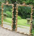 Pair Ornate Gilt Hanging Wall Mirrors